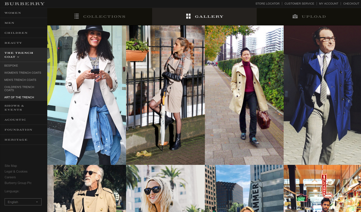Screenshot of the Burberry website with User Generated Content