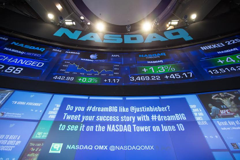 Photography showin NASDAQ's stock screens