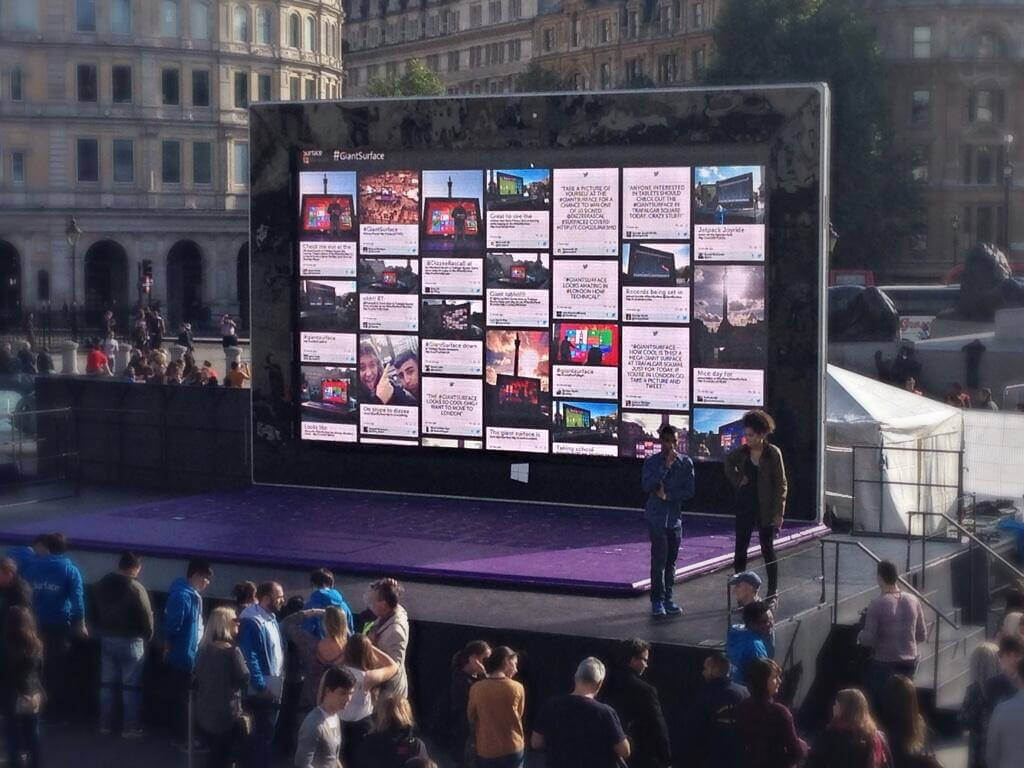 TINT Social Media Aggregator on Digital Screen
