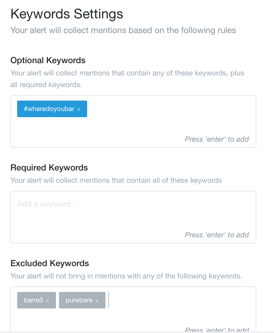 Screen Shot showing Mention keyword settings