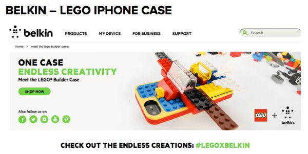 Belkin website #legoxbelkin user generated content campaign