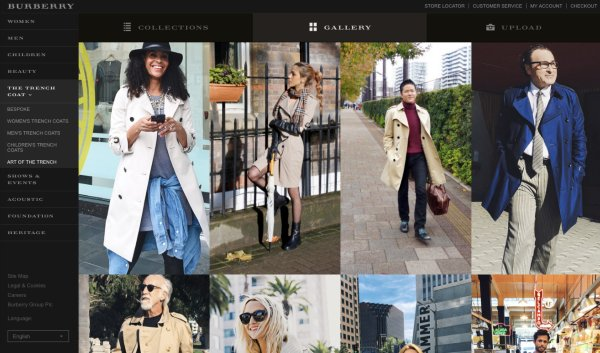 Burberry website with User Generated Content