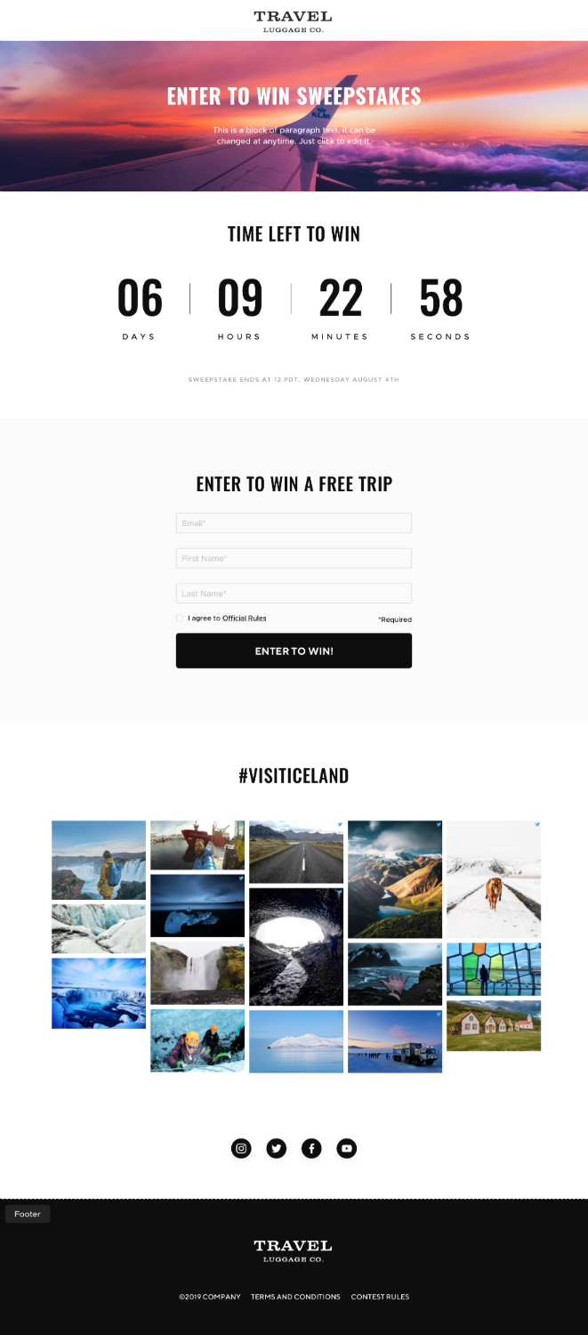 TINT Experience Builder Sweepstakes