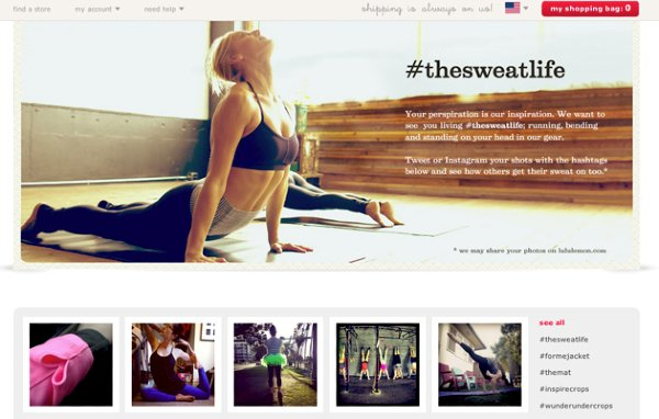 Lululemon website with #thesweatlife user generated content