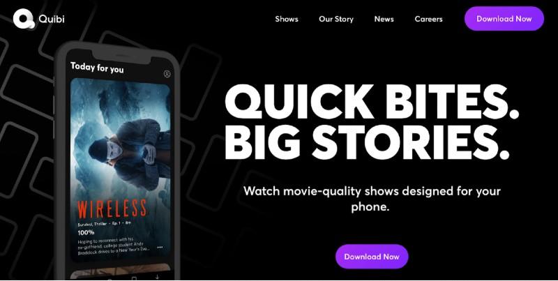 Quibi homepage screenshot