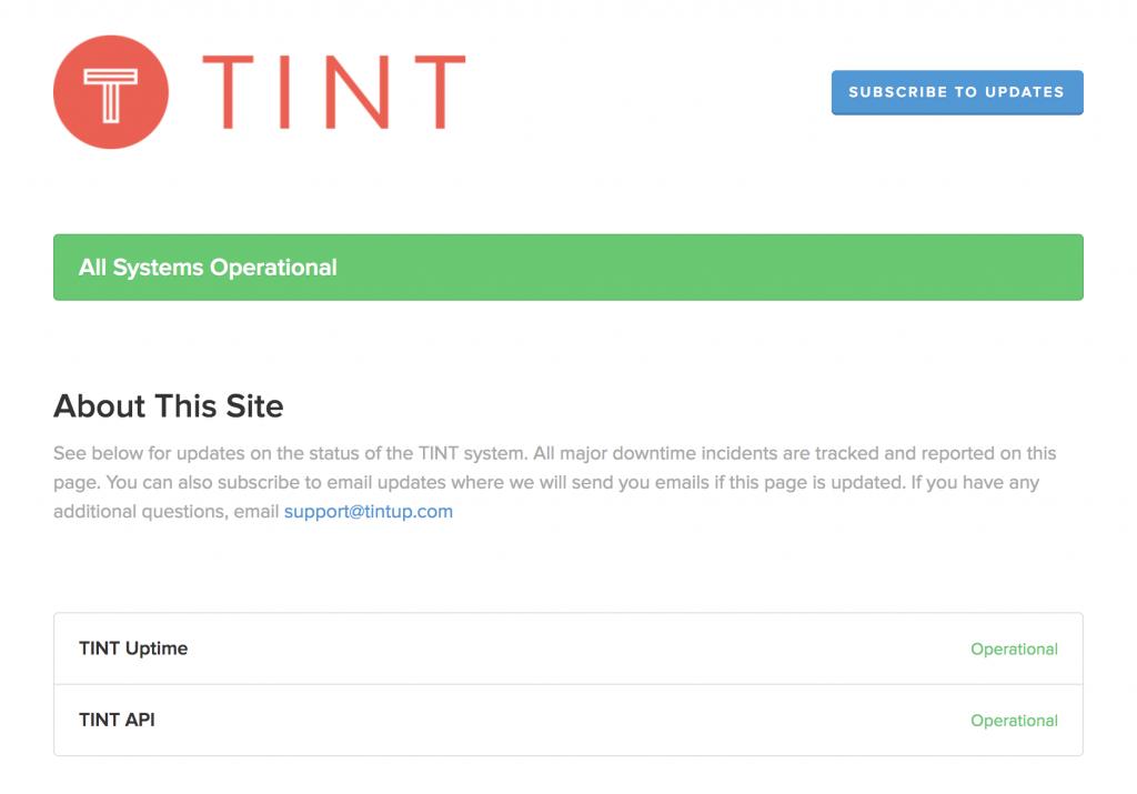 tint status page