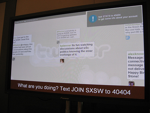 The original twitter social wall from SXSW 2007